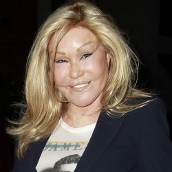 'Catwoman' Jocelyne Wildenstein and her boyfriend Lloyd Klein leave Mr. Chows Restaurant.
